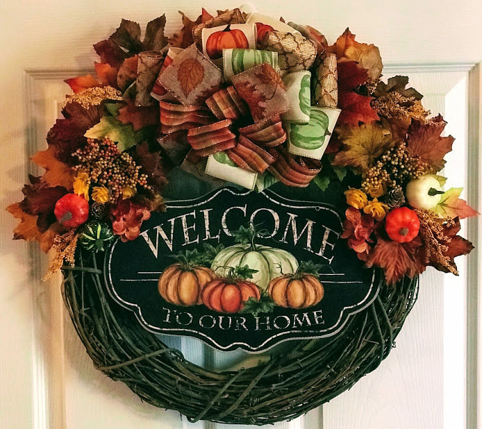 Fall Welcome to Our Home Grapevine Autumn Pumpkins Gourds Acorns Leaves Wall Door Wreath Décor A Touch of Faith