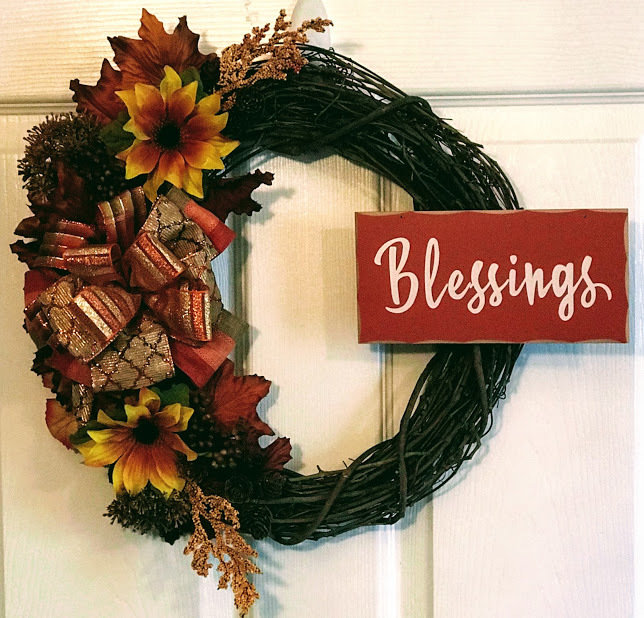 Autumn Blessings Sunflowers Leaves Berries Acorns Fall Grapevine Wreath A Touch of Faith