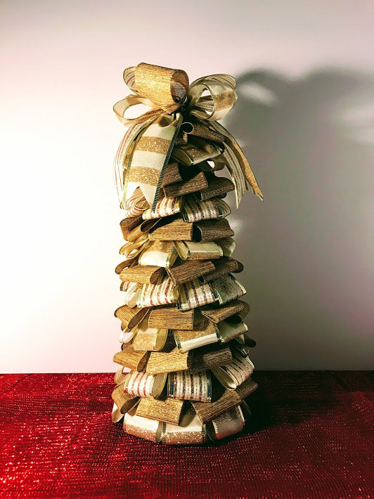 "13"" Gold Ribbon Tree Holiday Centerpiece Table Decor A Touch of Faith"