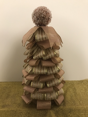 "10"" Rose Gold Ribbon Tree Centerpiece"