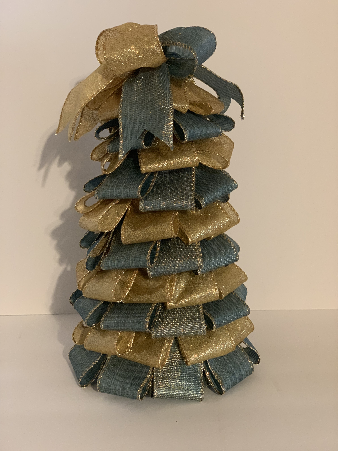 "10"" Blue Gold Christmas Ribbon Tree Holiday Centerpiece Table Decor A Touch of Faith"