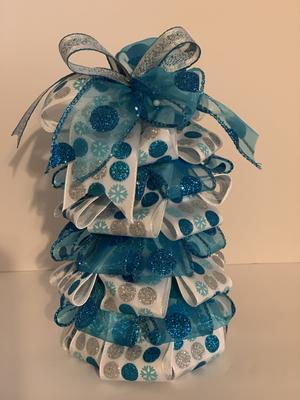 "7"" Blue Snowflake Ribbon Tree Centerpiece"