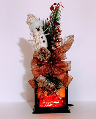 Winter Lantern Swag Snowman Fire Logs Centerpiece Candle Holder Sconce Wreath A Touch of Faith
