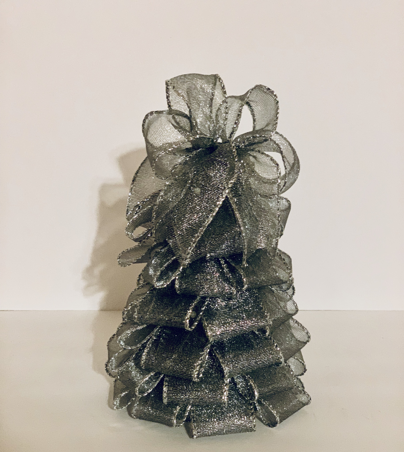 """7"""" Silver Ribbon Tree Holiday Centerpiece Table Decor Christmas Gift  A Touch of Faith"""