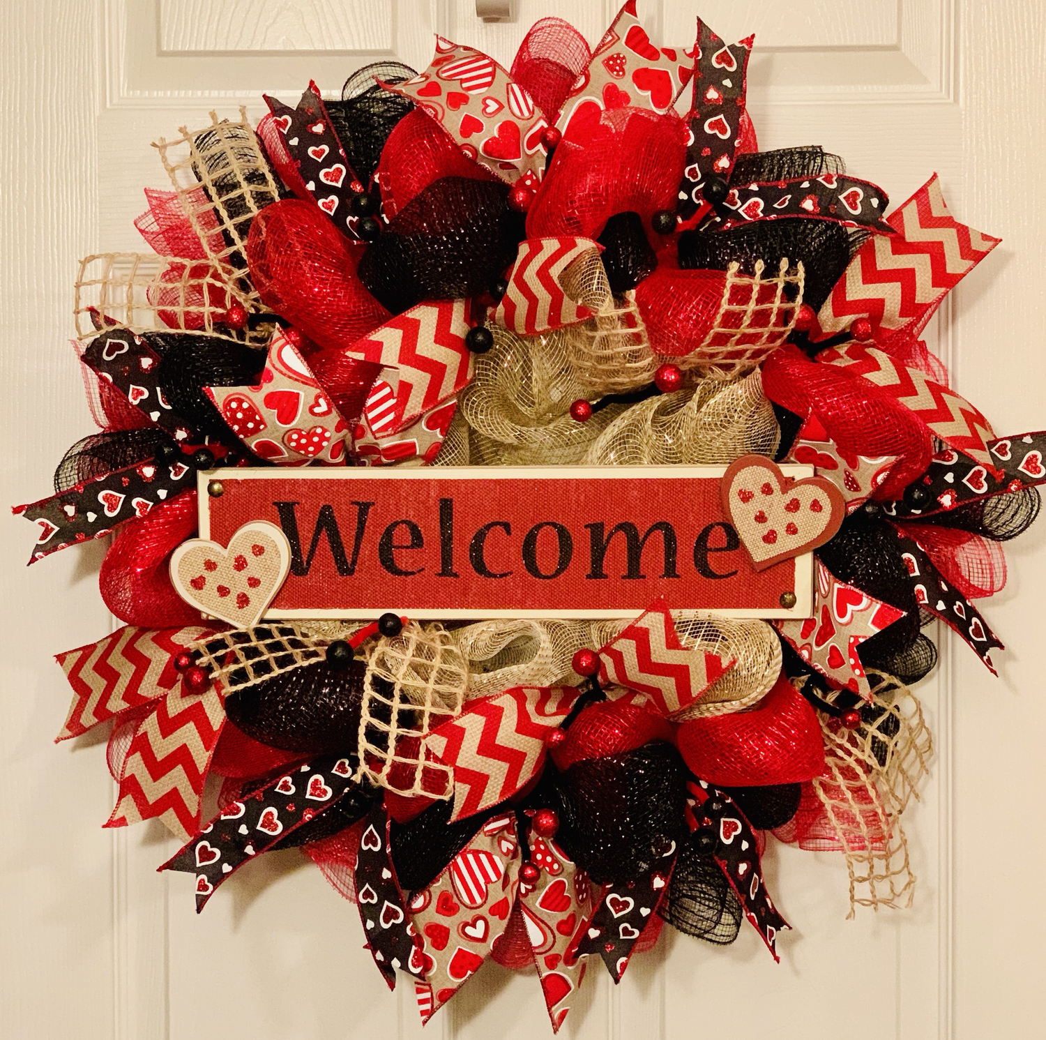 Welcome Wreath for Front Door, Valentine's Day Gift, Valentine's Day Decor, Everyday Wreath, A Touch of Faith