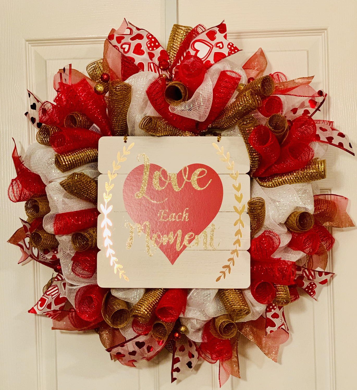 Love Decor, Valentine's Day Gift, Valentine's Wreath, Valentine's Day Decor, Heart Wreath for Front Door, A Touch of Faith