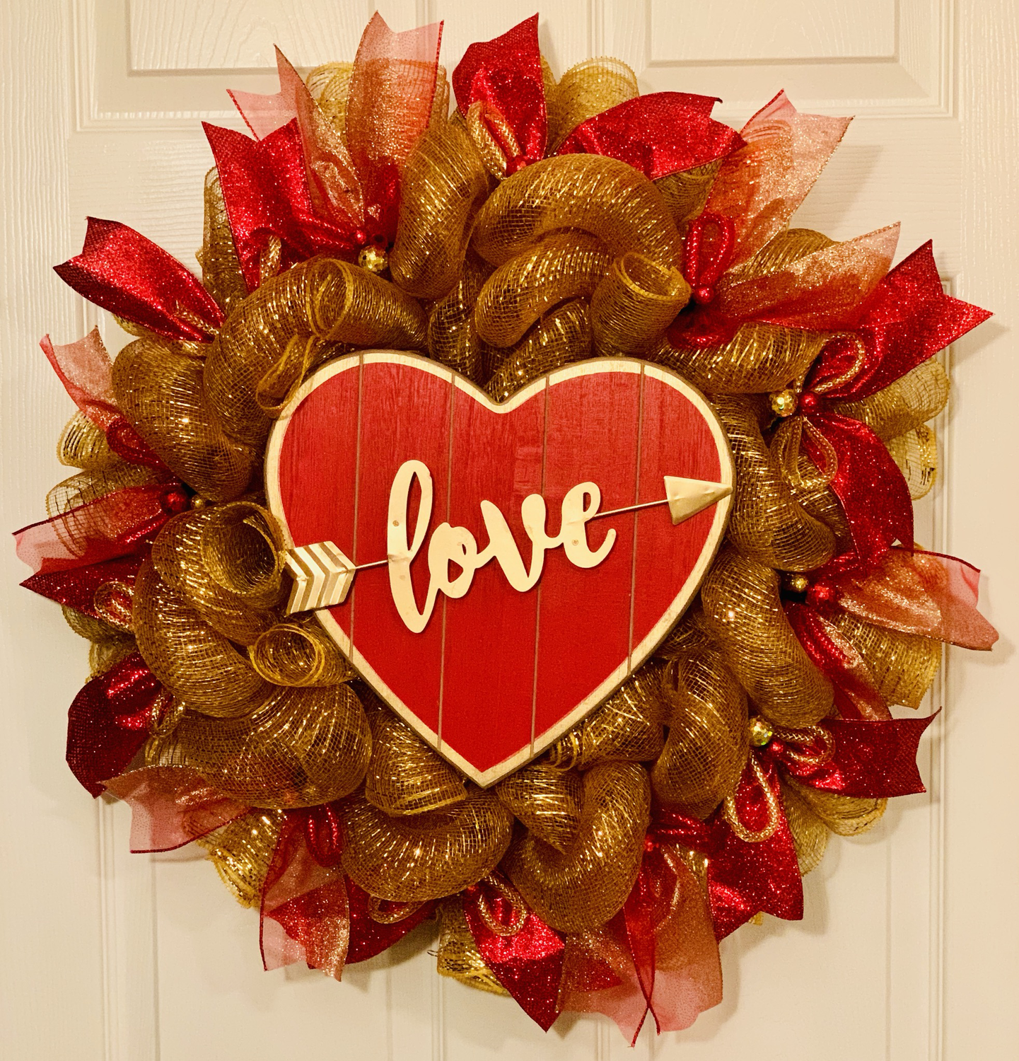 Valentine's Day Love Wreath Red Gold Heart Decoration A Touch of Faith