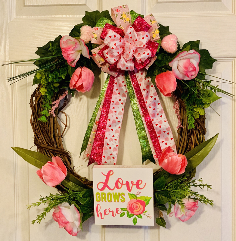 Love Grows Here Grapevine Wreath Valentine's Day Door Decor A Touch of Faith