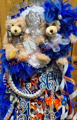NEW DOUBLE DOUBLE DELUXE MUM- 2 Flowers and 2 Bears  FRESHMAN, SOPHOMORE, JUNIOR OR SENIOR