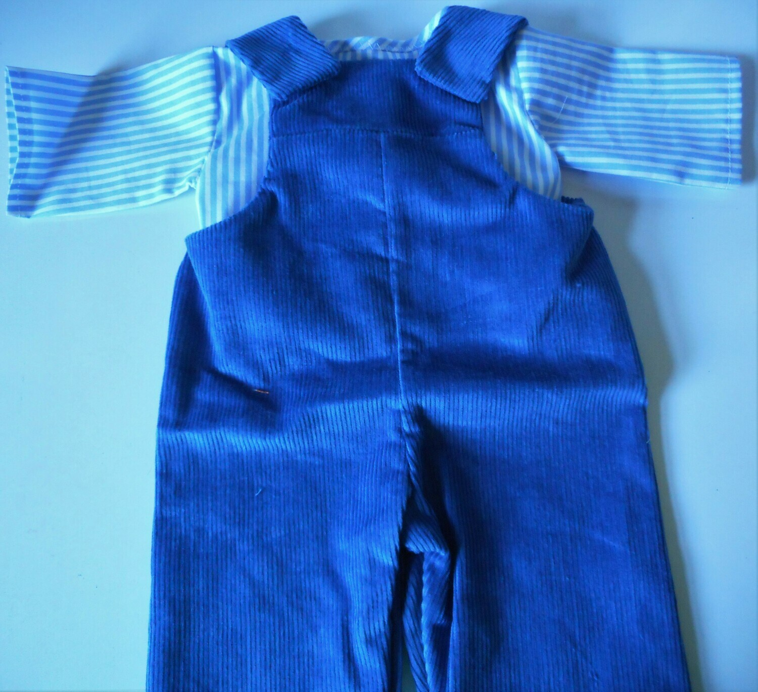 Outfit - blue dungarees and striped top in 3 sizes
