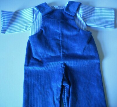 Outfit: Blue dungarees and striped top in 3 sizes