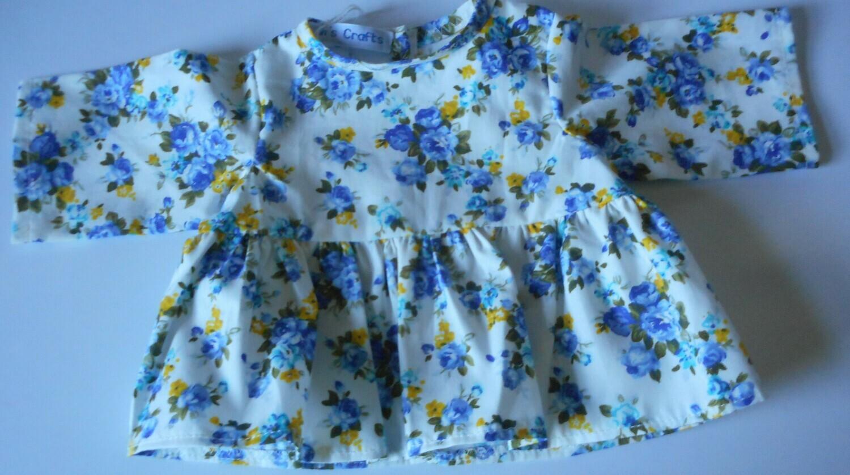 Top for dolls - Blue floral