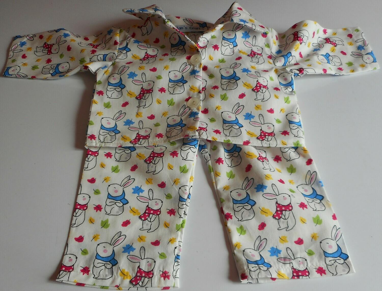 Pyjamas with collar for doll - rabbit print, cotton