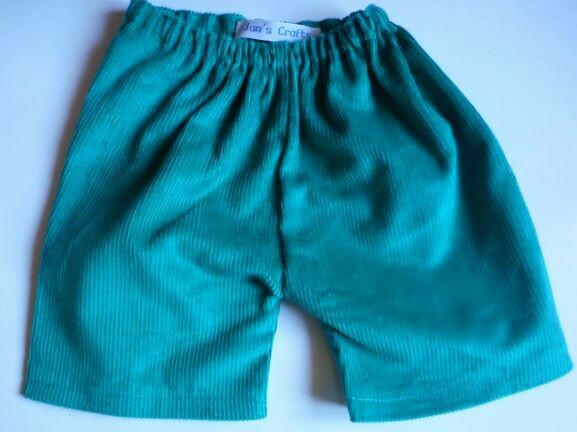 Trousers with back pockets - Green corduroy