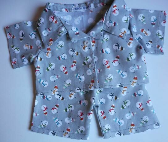 Pyjamas with collar - Snowmen print, cotton.