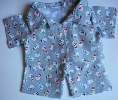 Pyjamas with collar - Snowmen print, cotton.