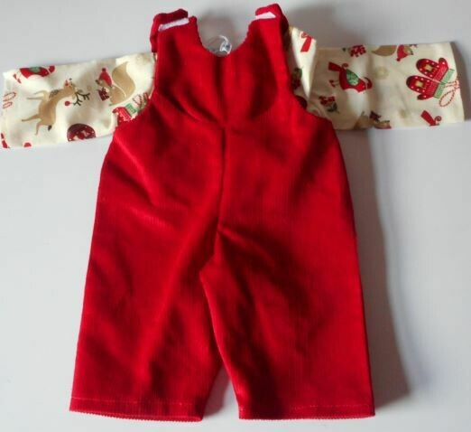 Dungaree Set - Red with x-mas print top/shirt in 3 sizes