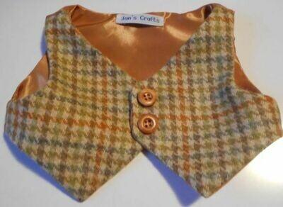 Waistcoat for bears - Tweed wool with plain lining