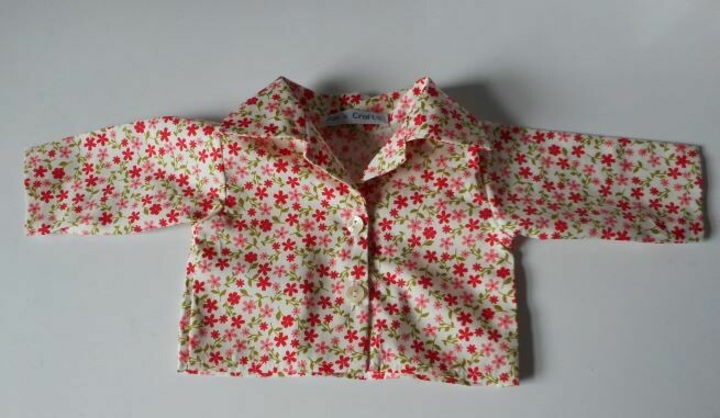 Shirt for doll - red floral print