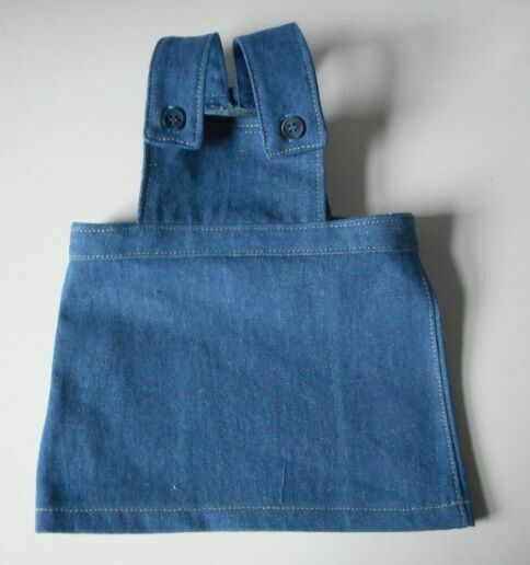 Pinafore for doll - blue denim