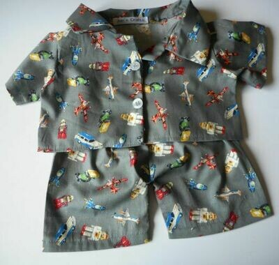 Pyjamas with collar - vintage toy print. Last pair in this fabric!