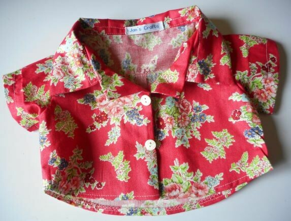 Short sleeved shirt for bears - red floral print