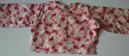 Top for dolls - Pink flowers on a cream background