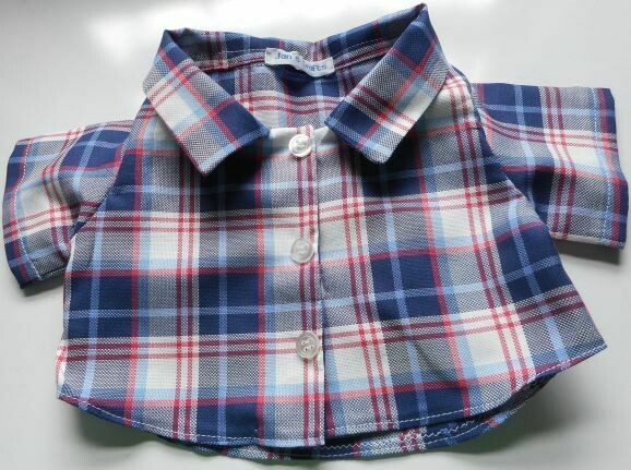 Shirt for bears - blue, white and red check fabric.  Last one in this fabric!