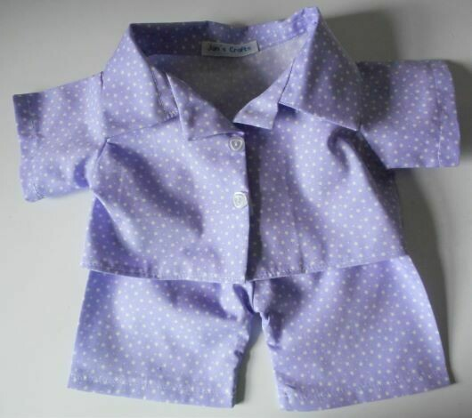 Pyjamas with collar for girl bears in lilac with white stars