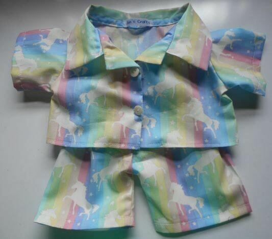 Pyjamas with collar for girl bears in unicorn print