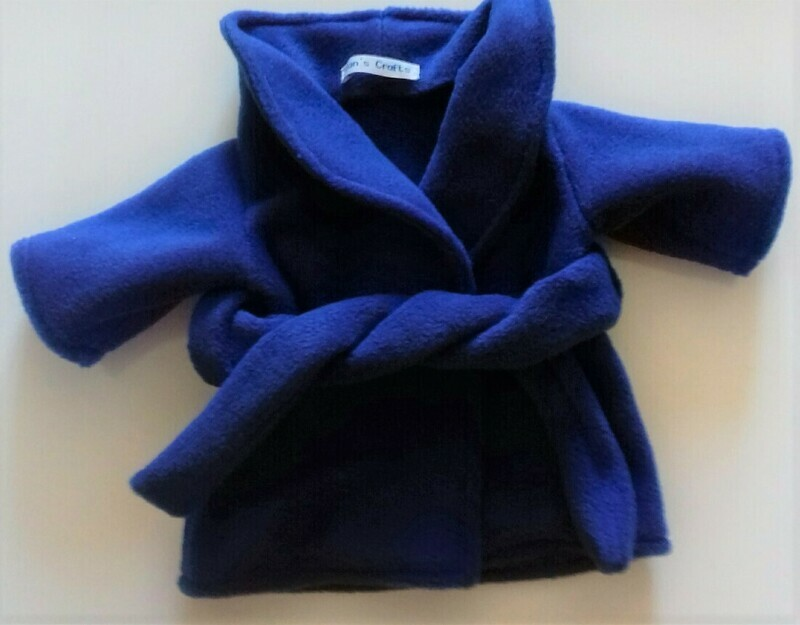 Dressing gown for dolls - royal blue fleece