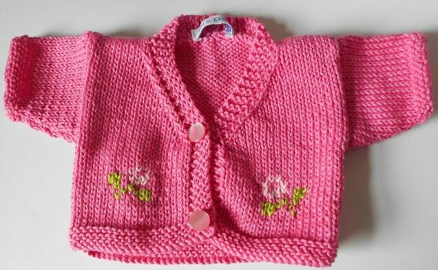 Cardigan for bear - bright pink with flowers