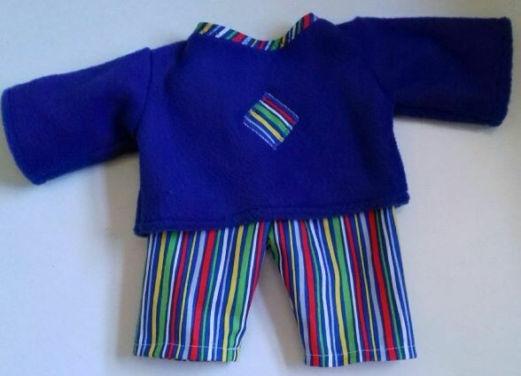 Pyjamas - doll. Fleece top and fabric trousers - royal blue