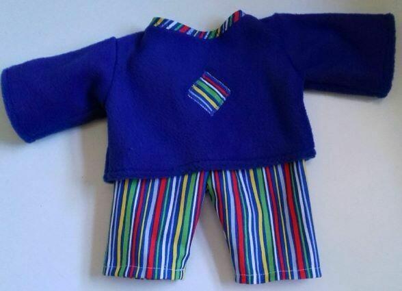 Pyjamas - doll. Fleece top and fabric trousers - royal blue
