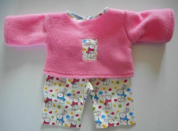 Pyjamas for dolls - fleece top and fabric trousers - pink