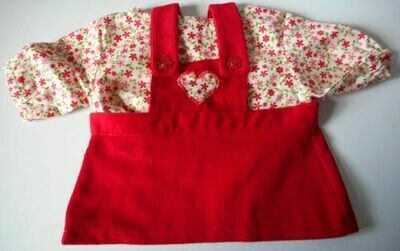 Outfit for bears: Red pinafore and floral top