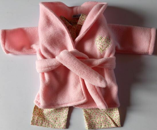 Outfit: Pink dressing gown and pyjama set