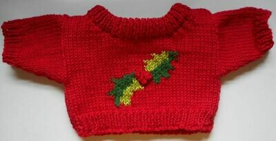 Christmas jumper, red with holly - bear 36cm/ 14 ins high