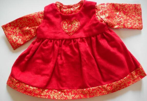 Outfit in red - 2 pieces top and pinafore  in 3 sizes