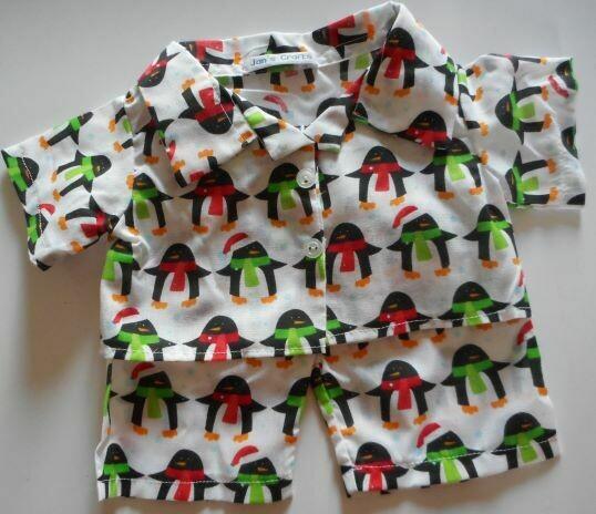 Pyjamas with collar - Penguin print, polycotton.