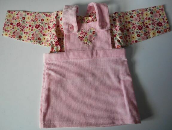 Outfit for doll - Pink pinafore and top