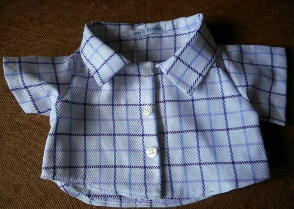 Shirt - purple and blue check on white background. Last one!