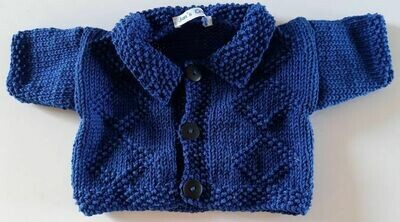Cardigan with collar - dark blue with diamond pattern on front