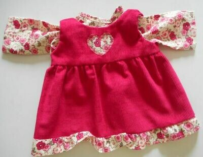 Outfit - Cerise pink pinafore with frill and matching top for dolls. 2 pieces