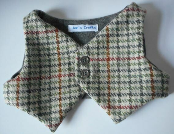 Waistcoat for bears - Grey tweed wool with plain lining