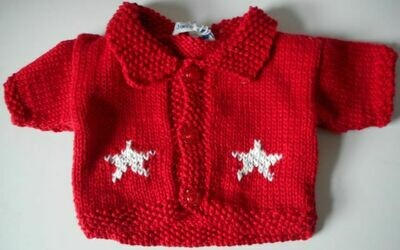Cardigan with collar - red with white star pattern on front and back