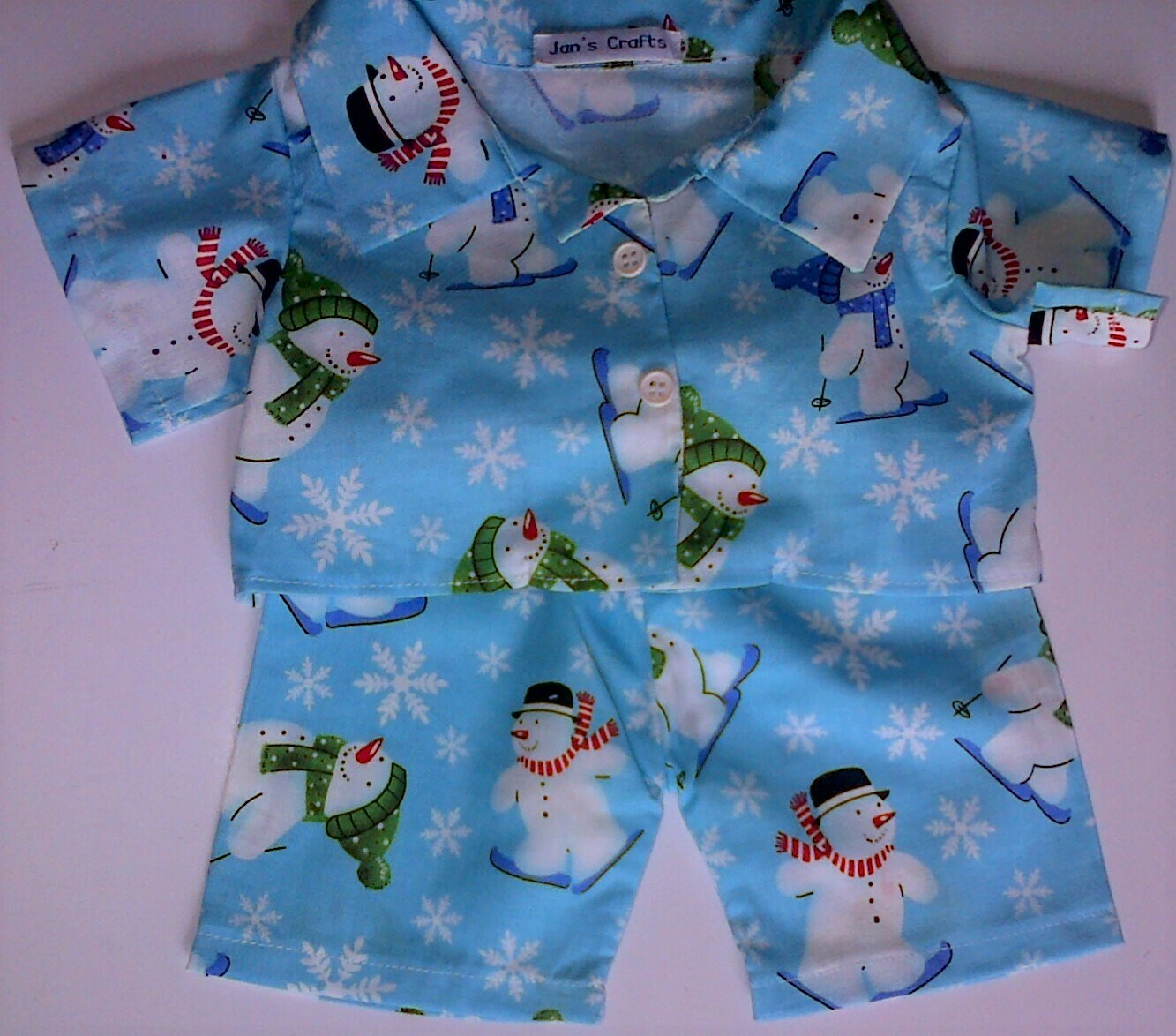 Pyjamas with collar - snowmen print cotton.