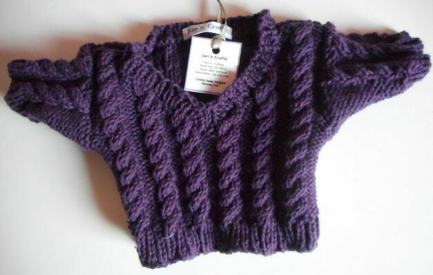 Jumper, aubergine cable v neck - bear 36cm/ 14 inches high. NEW!