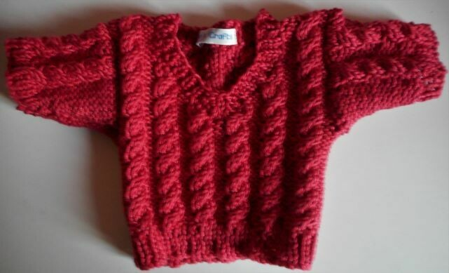 Jumper, brick red cable v neck - bear 36cm/ 14 inches high. Last one in this colour yarn!