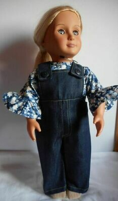 Outfit: Dark blue denim dungarees and floral top